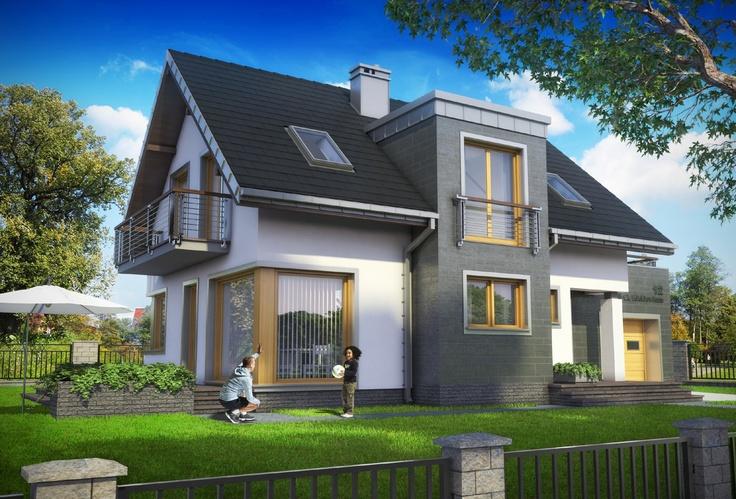 Projekt domu Margo Luna - nowoczesny i niewielki dom z dużym balkonem nad garażem