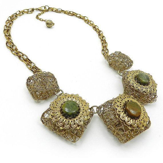 Ethnic Gold statement necklace with chunky by osofreejewellery, on Etsy