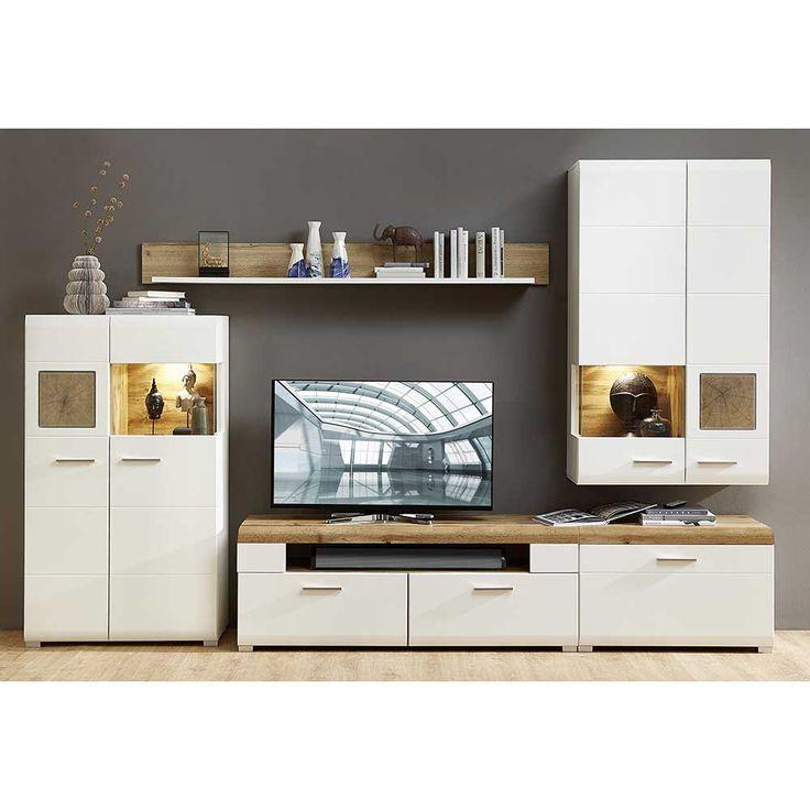 Wohnzimmer Wohnwand In Weiss Eiche Holz Dekor LED Beleuchtung 5 Teilig Jetzt Bestellen