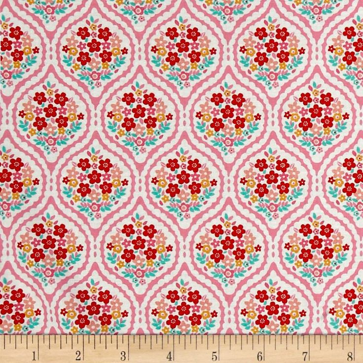 Riley Blake Forget-me-not Chain Pink from @fabricdotcom  Designed by Tammie Green for Riley Blake, this cotton print fabric features a beautiful floral design and is perfect for quilting, apparel and home decor accents. Colors include white, red, gold, turquoise and shades of pink.