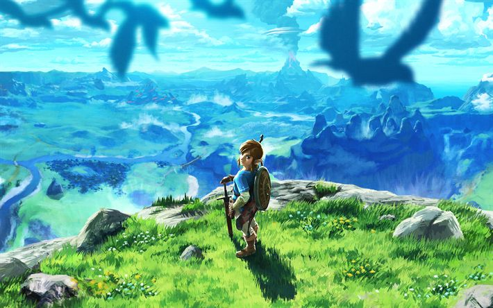 Download wallpapers The Legend of Zelda, Breath of the Wild, 2017, poster, new game, fairy world, dragon, characters