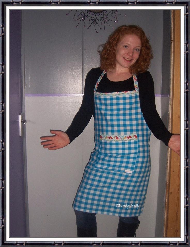 Keukenschort blauw geruit