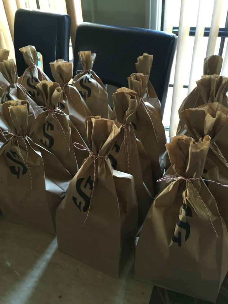 DIY goodie bags , money bags cops and robbers