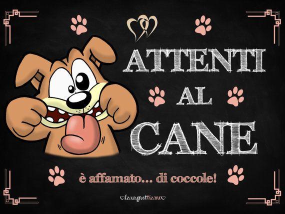 """Lavagnetta """"Attenti al cane"""" decorativa e personalizzabile 20x15cm adatta ad interni ed esterni per fare un regalo originale"""