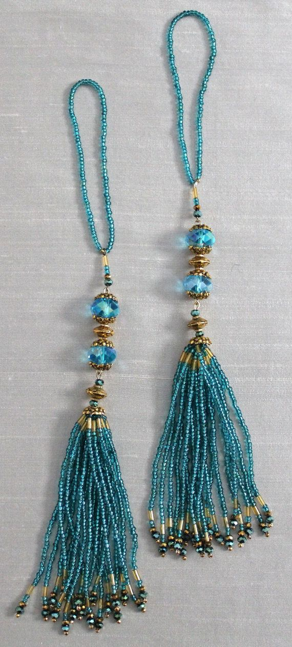 BEADED TASSELS Turquoise and Gold beads