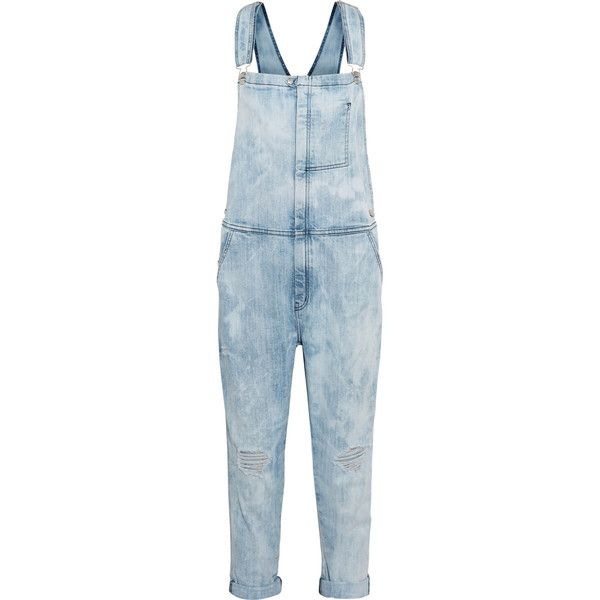 Current/Elliott The Ranch Hand distressed stretch-denim overalls ($220) ❤ liked on Polyvore featuring jumpsuits, light denim, blue overalls, blue jumpsuit, overalls jumpsuit, current elliott overalls and blue bib overalls