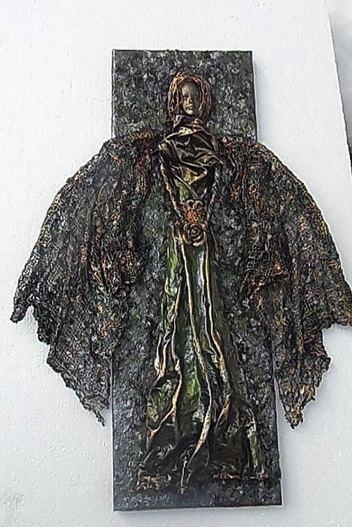 ednahandmade / anjel na plátne (zeleno-zemitý)