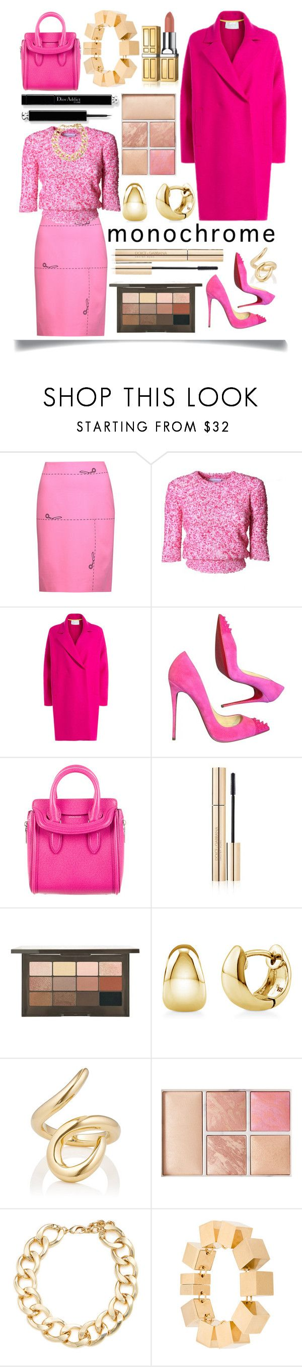 """Monochrome"" by ittie-kittie ❤ liked on Polyvore featuring Moschino, Carven, Harris Wharf London, Christian Louboutin, Alexander McQueen, Dolce&Gabbana, BERRICLE, Jennifer Fisher, Hourglass Cosmetics and Kenneth Jay Lane"