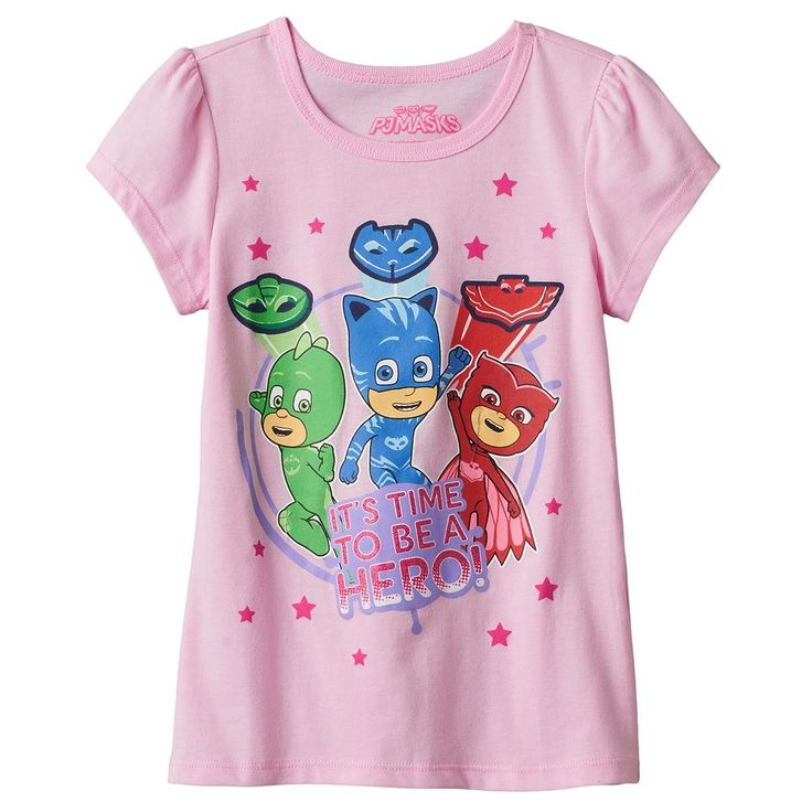 "Girls 4-6x PJ Masks Catboy, Owlette & Gekko ""It's Time To Be A Hero"" Tee, Size: 6X, Pink"