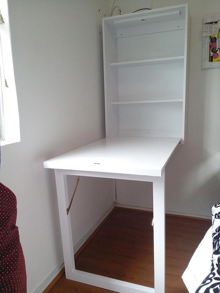 Image Of White Wall Mounted Folding Desk Built Ins