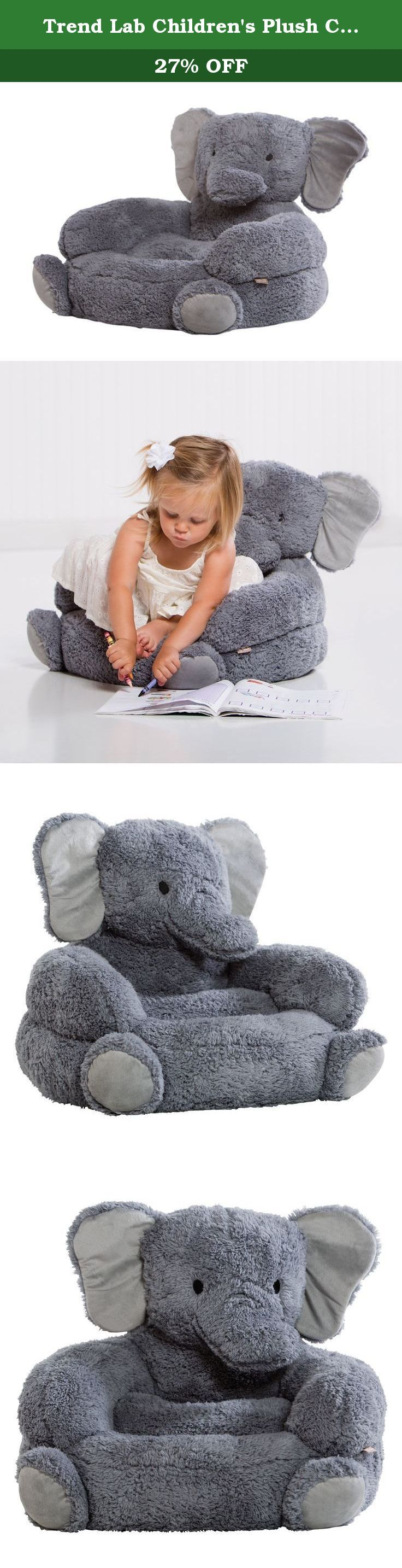 "Trend Lab Children's Plush Character Chair, Elephant/Gray. The Trend Lab Elephant Plush Character Chair brings delightful whimsy to your little one's world and to any room of the house. The Elephant chair is the most comfortable companion for reading, relaxing and snuggling thanks to the soft velboa ""fur"", perfect size and contoured support. Chair measures 18 in x 18 in x 20 in and is suitable for most children. Please use parental caution and supervision. Chair is intended for children…"