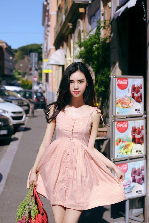 AmelieStrawberry Macaron Dot Dress | dress, moda and kfashion