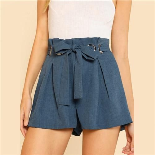 Blue Belted Shorts Office Ladies Workwear O-Ring Detail Elegant Shorts Womenmodkily 1