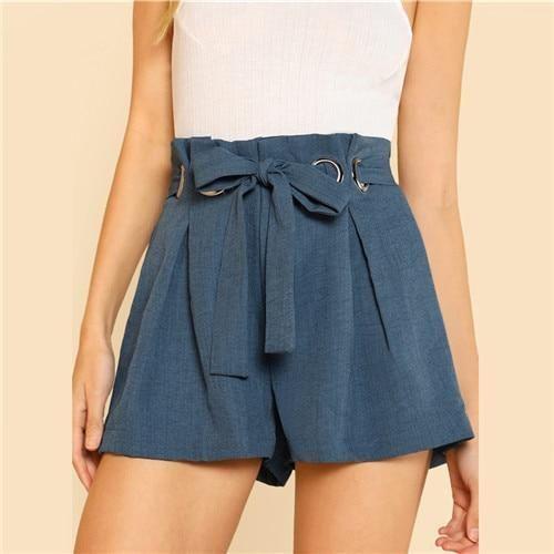 Blue Belted Shorts Office Ladies Workwear O-Ring Detail Elegant Shorts Womenmodkily