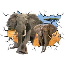 Gelukkig 3D 70x100 cm PVC Verwijderbare DIY Muurstickers Geschenken Afrikaanse Animal Olifanten Antilopen Muursticker Slaapkamer 3D muur Decor(China (Mainland))