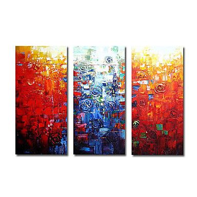 Abstract Flowers Oil Painting - Set of 3 - Free Shipping