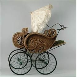 antique wicker baby pram with silk sun shade, ca. 1890. Learn about your collectibles, antiques, valuables, and vintage items from licensed appraisers, auctioneers, and experts at BlueVault. Visit:  http://www.BlueVaultSecure.com/roadshow-events.php