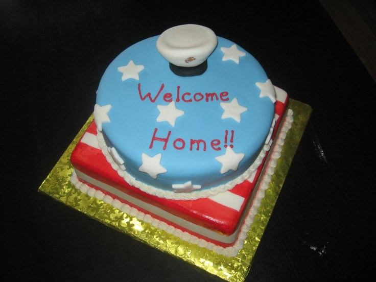 A welcome home cake for a local marine party ideas for Welcome home cake decorations