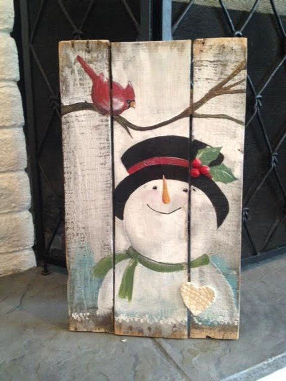 Snowman and Cardinal candy reclaimed wooden signal