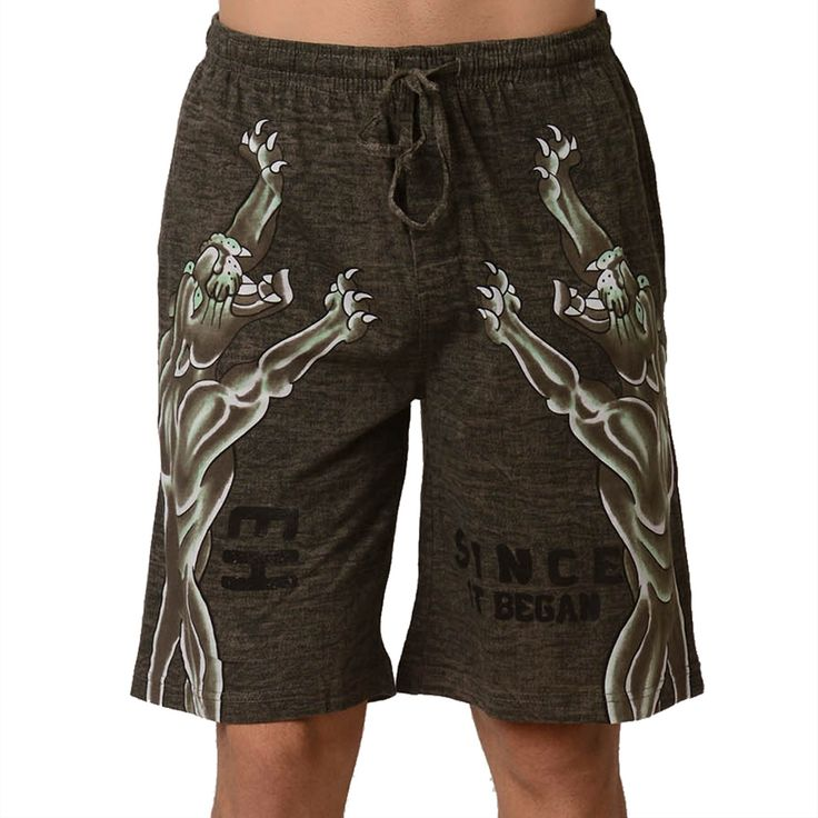 Ed Hardy Men's Roaring Panther Lounge Shorts – Green Dust