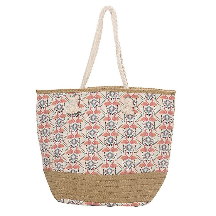 FABRIC BEACHBAG W/FLAMINGO 52X23X43/80 - Bags