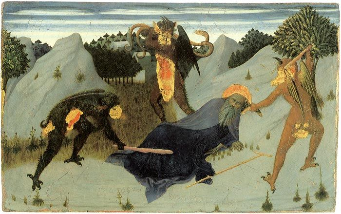St Anthony the Hermit Tortured by the Devils, 1423, Pinacoteca Nazionale, Siena. Sassetta