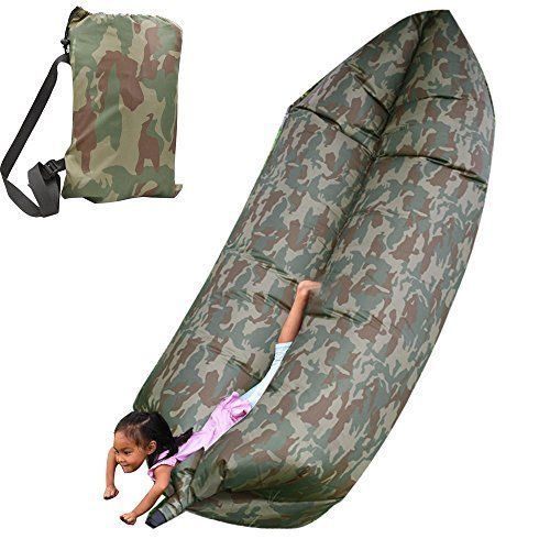Cmhoo Outdoor Convenient Inflatable Lounger, Sleeping Compression Air Bag, Beach Lounger, Portable Dream Chair, Air Sleep Sofa Lounge(Camouflage). Portable Design: It is only 1.0KG(2.2LB),Package size((L)15 X (W)7.5 X (H)5.9inch).Stays inflated up to several hours.You can put it in the buggy bag and take it to anywhere you like. Perfect Craft: This Inflatable Couch was made by external Imitate Nylon cloth and internal PVC, it can bear 330-440lb, that means 2-3 people sit on it at the same...