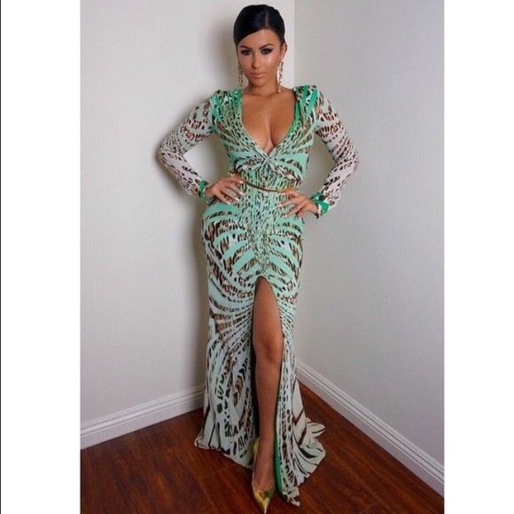 Mint Green Animal Print Evening Dress DESCRIPTION NEVER WORN Low V Neck , Long Sleeved , Sexy High Middle Slit, Lined Chiffon Material                                                 Dresses Like This Are Hard To Come By, If Only It Were My Size *Sigh* Jaide Clothing Dresses Maxi