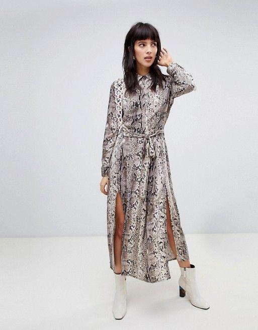 d8a8fc51de Stradivarius snake print midi dress with slits Midi Dress With Slit