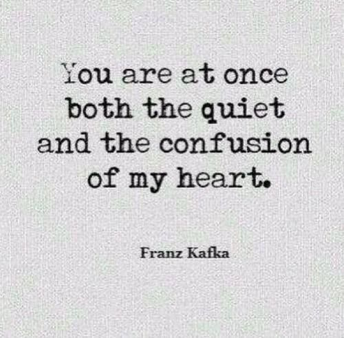 """""""both the quiet and the confusion of my heart"""" -Franz Kafka"""