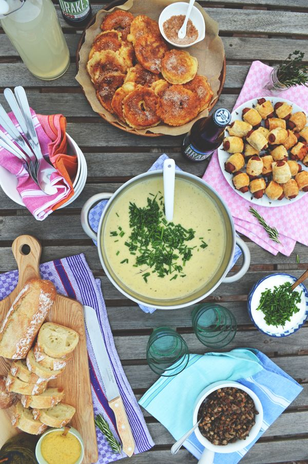 A Casual Rooftop Dinner Party   Homemade Potato Soup | A fun party idea with a delicious party soup. Photos and recipe are waiting down. #DIYready