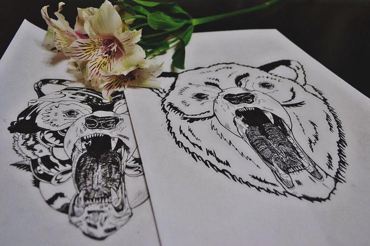 By Irina Vinogradova  art drawing black sketch dotwork flower bear