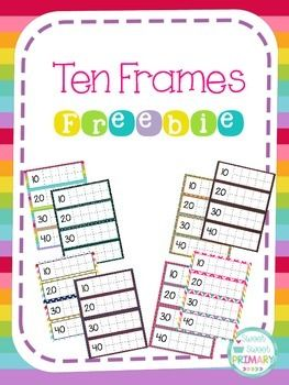 Practice counting by ones and tens with this ten frame FREEBIE! There are 8 color choices included in this pack. Each set has ten frames to 200 plus a blank set of ten frames. Colors included: rainbow stripes, three colors of chevron, chalkboard, denim, colorful arrows, and pink polka dots.