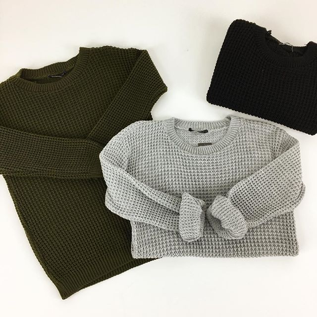 Cosy up in our waffle knit jumpers . £9.99