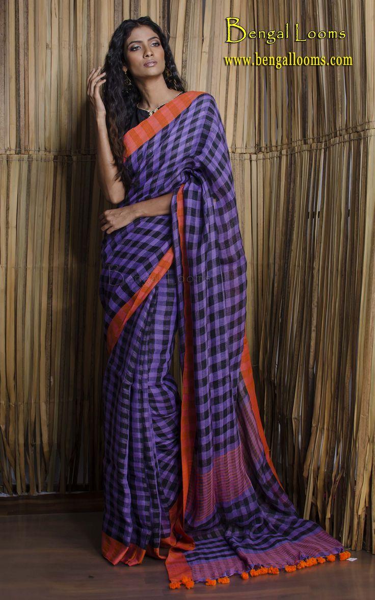 Check Linen Sari in Purple, Black and Orange