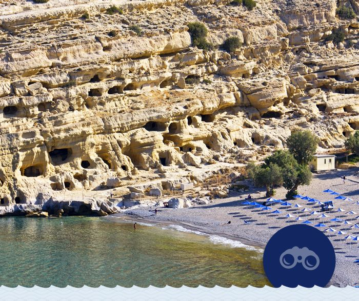 """Every summer is like the """"Summer of Love"""" in Matala beach in Southwest Heraklion! Many famous hippie icons stayed in the cliff caves of the beach during the '60s and the '70s. Check out the @Matala Beach Festival from 19-21 June and live the whole experience!"""