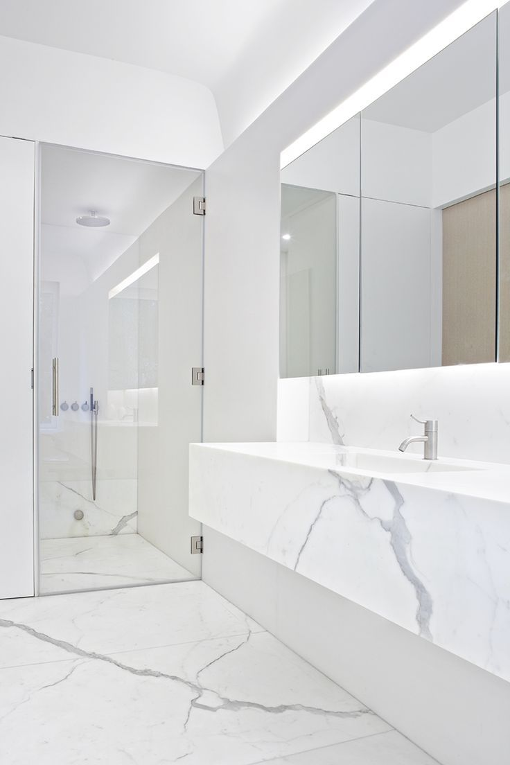 Minimal White Marble Sink and Floor