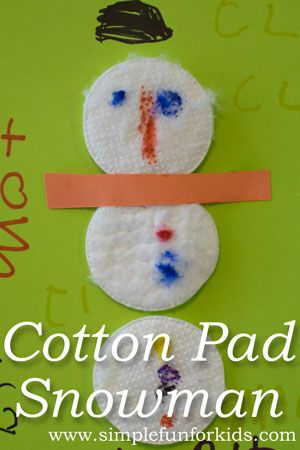 Crafts for Kids: Make a cute and simple Cotton Pad Snowman!
