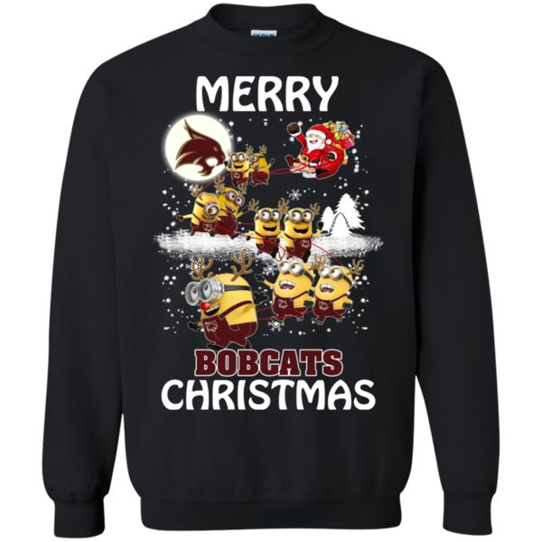 Texas State Bobcats Ugly Christmas Sweaters Minions Santa Claus Merry Christmas Hoodies Sweatshirts