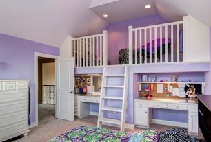 Traditional Kids Bedroom with flush light, Loft, Built-in bookshelf, Cathedral ceiling, Carpet