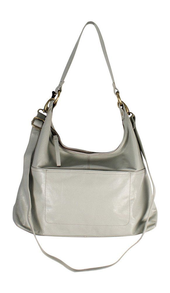 """Latico Leathers Roberta Shoulder Bag, Stone, One Size, 100% Leather, Designer Handbag, Made In India. 100% Geniuine Luxury Leather. Designer Made and Top Quality Leather. 1"""" wide shoulder strap with 12"""" drop and 1"""" wide adjustable detachable crossbody strap with 16"""" min and 25.5"""" max drop. Front and back exterior of bag feature large open pocket with hidden magnetic closure. Top zip access to roomy interior. Front wall features four credit card slots, electronic organizer pocket and two..."""