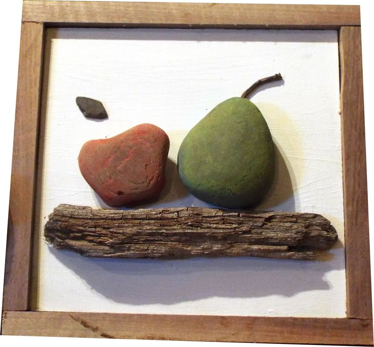 """Apple with her friend Pear"" ""Rock, Pebble & Driftwood Art"" with solid ""Walnut"" Frame By: Alida Martinez Urraca -Ali- All the rocks and driftwood for my artwork come from ""Seneca Lake, NY"" ...  http://hacedoradeilusiones.blogspot.com/"