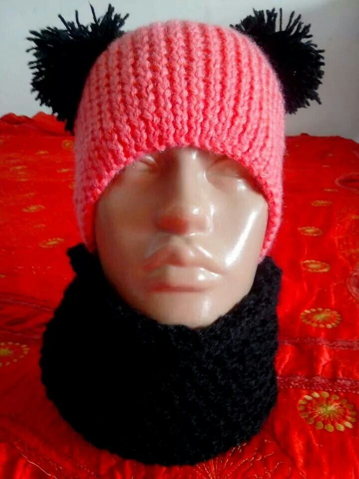 Caciula si fular tricotat