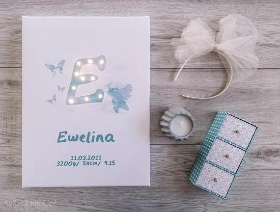 Light up letter in watercolor Mint letter Birth