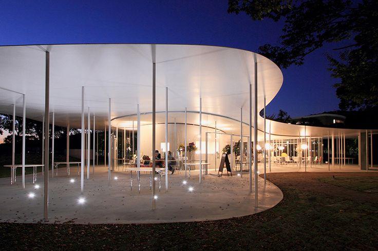 SANAA sets okayama university café beneath sinuous steel canopy