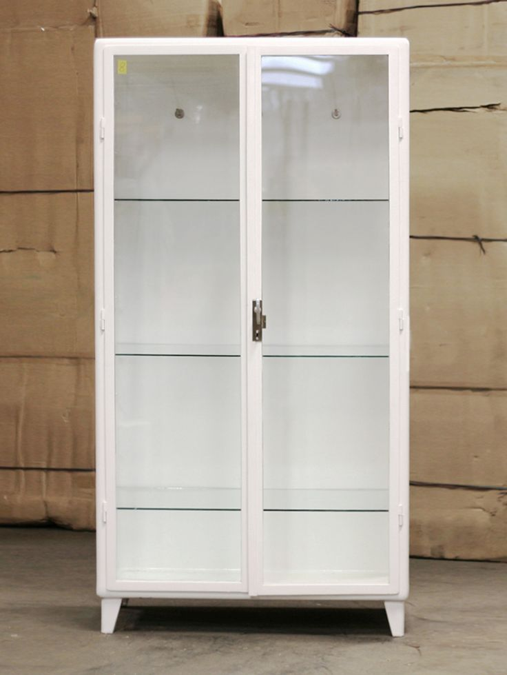 Antique Medicine Cabinet In Metal And Glass. Painted White. Tre Shelves Of  Glass. Part 81
