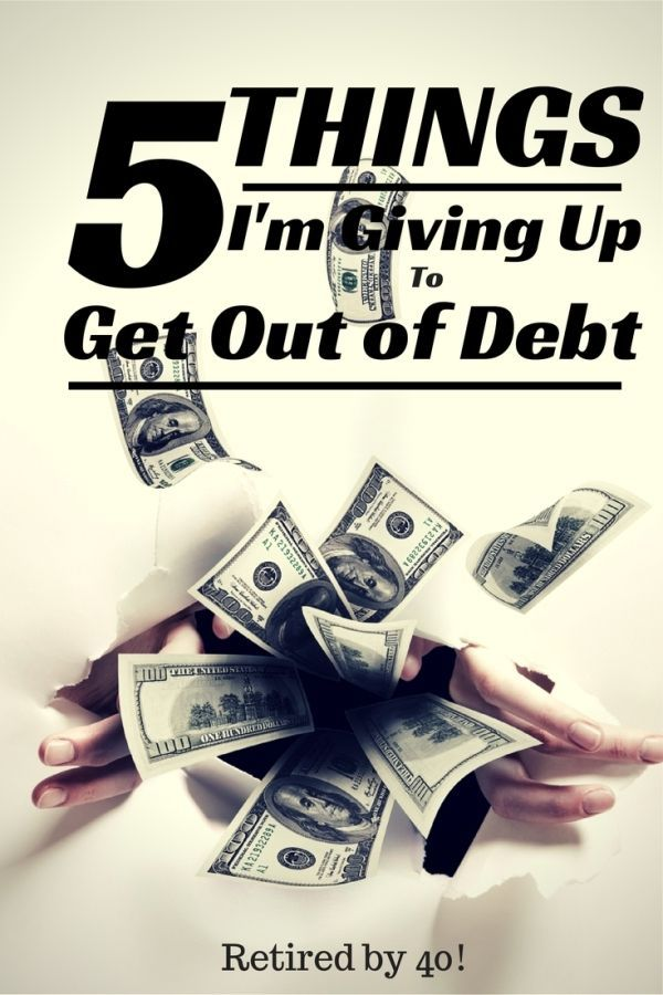 5 Things I'm Giving Up To Get Out of Debt Everyone's sacrifices are different.....what are yours? http://www.retiredby40blog.com/2014/08/25/5-things-im-giving-up-to-get-debt/?utm_campaign=coschedule&utm_source=pinterest&utm_medium=Retired%20By%2040!%20(DIY%20Frugal%20Living)&utm_content=5%20Things%20I'm%20Giving%20Up%20To%20Get%20Out%20of%20Debt