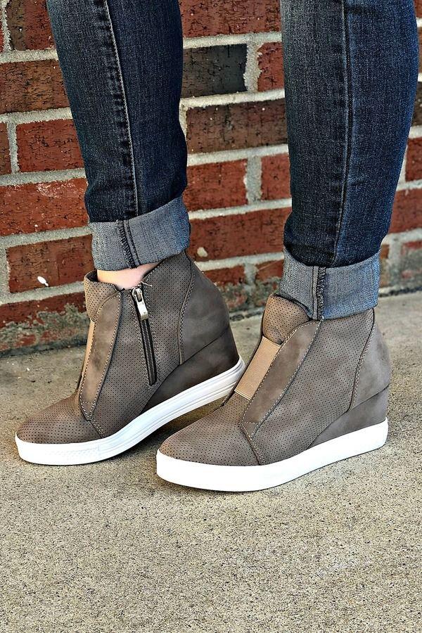 Sneaker Wedge: Taupe | Wedge sneakers