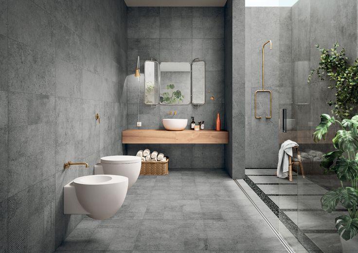 Minimalisticky riešená kúpeľňa. Kúpeľňa inšpirovaná efektom betónových povrchov, betónový dizajn obkladov. Puristická kúpeľňa - moderné čisté línie, maximálna prehľadnosť a čírosť. Puristický dizajn bez ozdôb, mestský štýl.