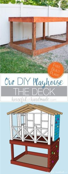 Even though our yard is small, we decided we still needed a DIY playhouse. Check out how we built the small playhouse for our kids, on a budget, starting with the deck. This project was so easy and now we can see the playhouse starting to take shape. Housefulofhandmade.com | How to Build a Playhouse | DIY Swing Set | Small Playhouse | Playhouse Build Plans